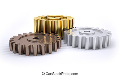 Gears poduim - Three gears bronze silver and gold as a...