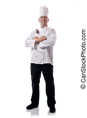 chef spoon - Male chef smiling with ladel sign isolated on...