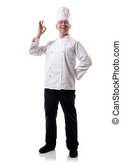 chef ok - Male chef smiling with ok sign isolated on white
