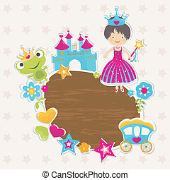 princess background - frame, little princess with castle