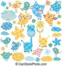 cute birds and giraffes - cute happy birds giraffes set for...