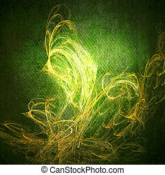 Abstract green background or paper with bright center spotlight