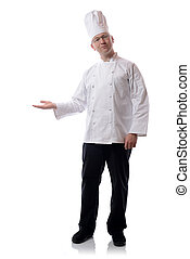 chef presenting - Male chef smiling pointing to a product...