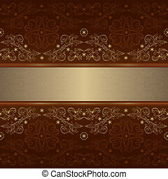 Template with ornate floral seamless pattern on a brown...