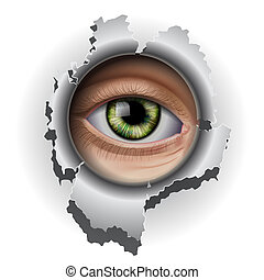 Interested Eye looking in hole, vector Eps10 illustration