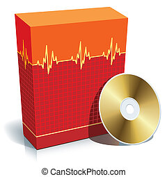 Box with medical software - Red blank 3d box with medical...