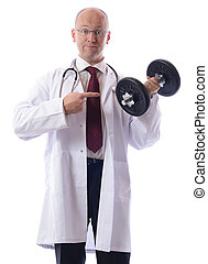 doc exercise - A doctor gve advise to exercise isolated on...