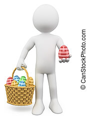 3D white people. Basket with easter eggs - 3d white person...