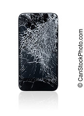 Broken Mobile Phone - Mobile phone with broken screen...
