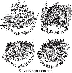 Decorative templates with dragon heads for mascot design....