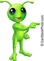 Cute Cartoon Alien Pointing - An illustration of a cute...