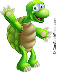 Cartoon Tortoise or Turtle Waving - An illustration of a...