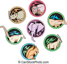 Round dingbats with animals - Vector set of decorative round...