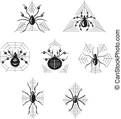 Dingbats with spiders - Vector set of decorative dingbats...