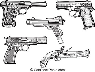 Set of old pistols - Vector set of old pistols. Skethes.