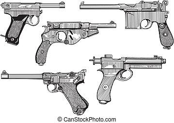 Set of old pistols - Vector set of old pistols. Skethes.