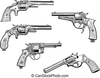 Set of old revolvers - Vector set of old revolvers. Skethes.