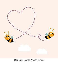 Flying bees making big love heart in the air - Bees making...