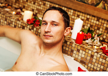 Young man in spa