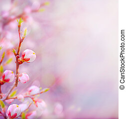 art Beautiful spring blossoming tree on sky background -...