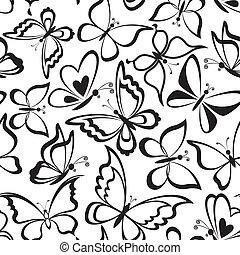 Seamless background, butterflies silhouettes - Seamless...