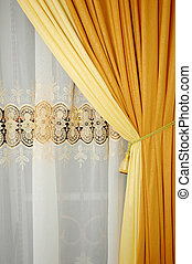 golden yellow silk curtain