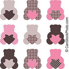 Cute abstract Teddy retro set ( brown & pink ) - Beautiful...