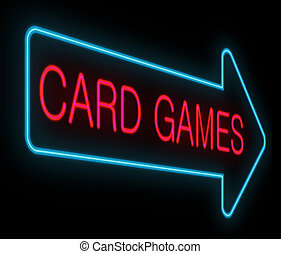 Card games concept. - Illustration depicting a neon signage...