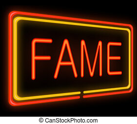 Fame concept - Illustration depicting a neon signage with a...