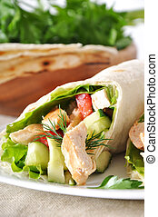 Kebab - grilled meat and vegetables in pita
