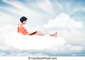 Girl with a book - Photo of the girl with a book on a cloud