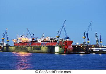seco, muelle, barco, contenedor
