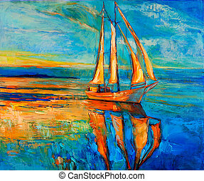 Sail ship - Original oil painting of sail ship and sea on...