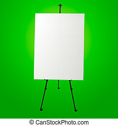 vászon, festőállvány,  modern, zöld, háttér, fehér, Üres