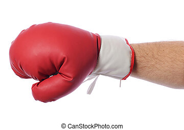 boxing glove - Red boxing gloves on hands on white...