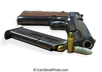 Handgun Colt with bullets - Legendary U.S. Army handgun Colt...