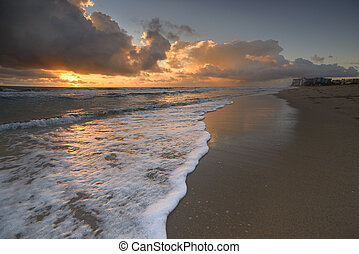 Sunrise on Miami Beach - Stormy sunrise on Miami Beach,...