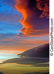 dramático, Tempestade, Nuvens, pôr do sol