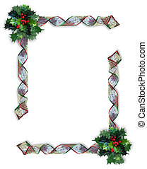 Christmas Ribbons frame or border - Image and illustration...