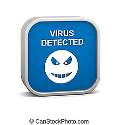 Virus Detected Sign on a white background. Part of a series.
