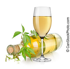 White wine glass and vine - White wine and vine isolated on...