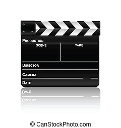film slate with reflection 2 - Movie clapper board with...