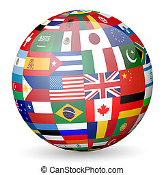 globe flags - National flags sphere on white background...