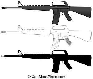 M16 set on a white background. Vector illustration.