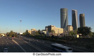 Madrid highway dusk fast 30 - time-lapse at highway next to...