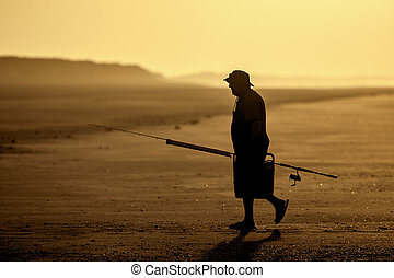 fisher sunset - A sunset and a fisher at 80 mile beach...