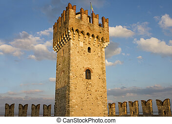 The Tower of Scaliger Fortress in Sirmione - Close up shot...