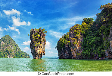 Thailand nature. James Bond island view tropical landscape -...