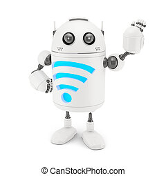 Robot with WiFi symbol