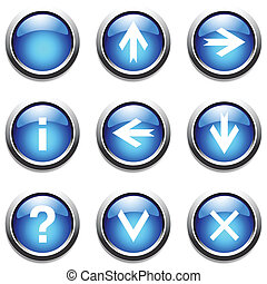 Blue buttons with signs Vector art